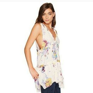 Free People cream floral tunic